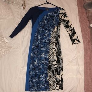 Blue color block and floral dress